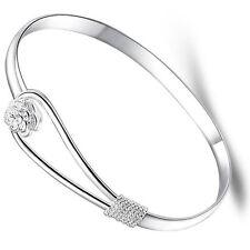 """Women's Unisex 925 Sterling Silver Cuff Bangle Open Bracelet 7.5"""" G4"""