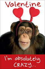 Chimp Wobbly Eyes Crazy About You Happy Valentine's Day Card Greeting Cards