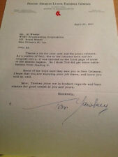 1957 TOM YAWKEY Typed & signed letter!  Red Sox Hall Of Famer!  Ted Williams!
