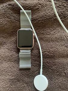 Apple Watch Sport 42mm Rose Gold Aluminum Case & Silver Metal Band - Series 1