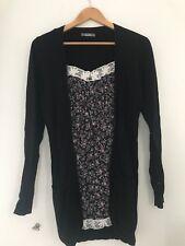 Ladies Cardigan Dress South 12 Black Long Sleeve Casual  <JJ10012
