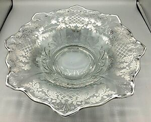 """Vintage 13"""" Clear Glass Bowl Sterling Silver Overlay Acorns and Leaves Pattern"""