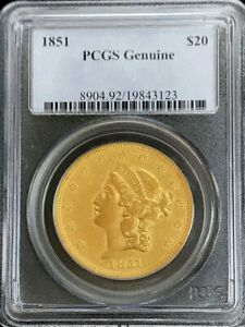 1851 GOLD UNITED STATES $20 LIBERTY DOUBLE EAGLE TYPE 1 COIN PCGS GENUINE