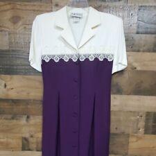 S.L. Fashions vintage purple/cream dress 8P