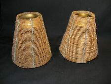 Two Vintage Gold Beaded Candle Shades/Toppers with Brass Supporter