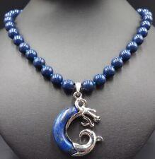 New 10mm Blue Lapis Lazuli Gemstone Beads + Loong Pendant Jewellery Necklace