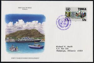 Tonga 761 on addressed FDC - UN Development Program, Agriculture, Fishing, Ship