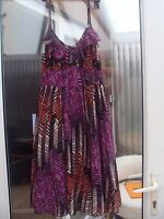 Chiffon Strappy Summer Dress Purple/Pink Multi Coloured Size12 BNWT E-vie