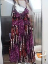 E-VIE Chiffon Summer Dress Purple/Pink Multi Coloured Size12 BNWT