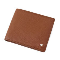 New $390 TOM FORD Light Brown Leather Classic Bifold Wallet with Silver Logo