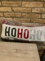 Pottery Barn Kids Ho Ho Ho Lumbar Pillow Santa Christmas Holiday NEW