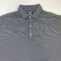 FootJoy Golf Polo Shirt Men's XL Short Sleeve Gray Black Striped Athletic Fit