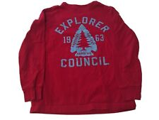 Boy Lands End Red Long Sleeve T-Shirt w/ Graphic, Size 7 (L)