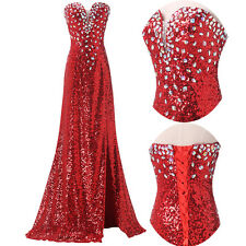 Pageant Beaded Long Split Prom Dresses Bridesmaid Formal Evening Party Ball Gown