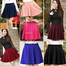 Womens Fashion Stretch High Waist Plain Skirts Skater Flared Pleated Mini Skirt#