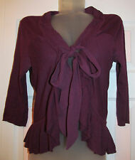 GUINEVERE  / ANTHROPOLOGIE burgundy red wine front tie cardigan sweater top M