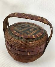 """Small Antique Chinese Weaved Basket with Lid and Handle 4.25"""" Green & Red Paint"""