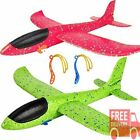 """2Pack Airplane Flying Toys 17.5"""" Large Throwing Foam Plane 2 Flight Mode for Kid"""