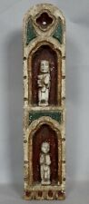 More details for antique painted wooden shrine panel
