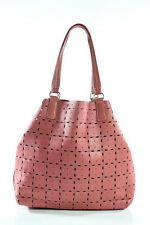 Miu Miu Pink Leather Laser Cut Open Top Tote Handbag