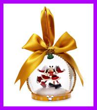 🌴 Disney Mickey & Minnie Ice Skating Mistletoe Kissing Blown Glass Ornament New