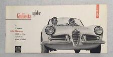 Brochure 1957 Alfa Romeo Giulietta Spider Original Car Sales Catalog Vtg Nice