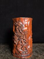 Collect noble natural Boxwood carved plum blossom statue Brush Pot  Pencil Vase