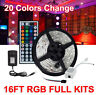5M RGB 5050 Waterproof LED Strip Light 44Key Remote 12V US Power Supply Full Kit