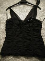 Gina Bacconi black evening top with sequins and beads size 18 party Xmas