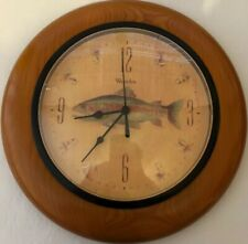 "Westclox Round Wood Frame Vintage Fishing Clock 11.5"" Man Cave Wall Hanging"