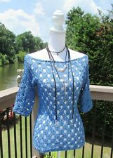 Blue Top/Crochet/Sleeve/Summer