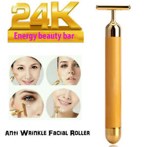 24k Gold Beauty Bar Facial Roller Vibration Skin Care Massager Anti Aging Device