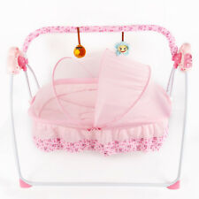 Pink Remote Control Abs Electric Auto Baby Infant Swing Rocker Cot Sleeping Bed