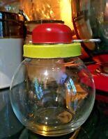 Vintage Nut Chopper Red and Yellow Metal Turn Key Grinder Glass Jar Bottom