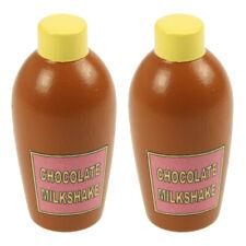 Bigjigs Toys Wooden Play Food Chocolate Milkshake (Pack of 2) Pretend Roleplay