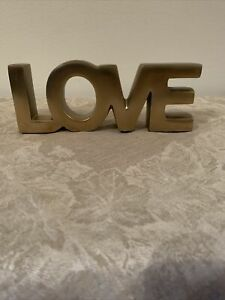 Love Sign for Home Decor Brass Like Metal LOVE Block Letters Tabletop Words