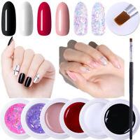 Harunouta 6Boxes Nagel Gellack Brush Pink Glitzer Sequins Soak Off Nail UV Gel