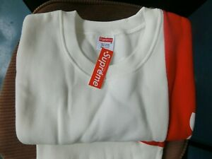 Supreme Men Women Sweater Large Casual White & Red Brand New Round Neck #6604
