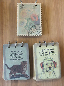 FABRIC NOTE PAD NOTEBOOK IN STYLES CAT DOG STAMP THICK BROWN PAPER UK SELLER