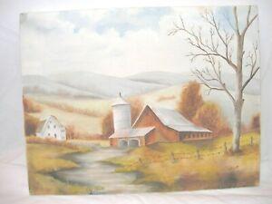 "Oil on Canvas ""Farm Scene"" 18"" W X 14""H X 3/4""D"