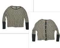Love Culture Womens S Loose Knit Top Black & Tan Tee Shirt Long Sleeve Buttons