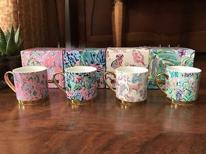 Lilly Pulitzer 4 COFFEE MUGS Furbulous Girl Night Out Favorites Mermaid Gift NEW