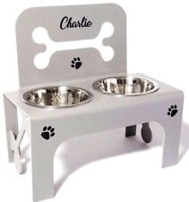 raised dog bowls feeders stainless steel bowls personalised stand