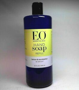 EO ESSENTIAL OILS HAND SOAP REFILL LEMON & EUCALYPTUS BE BRIGHT 32 FL OZ