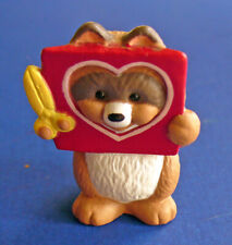 Hallmark Merry Miniatures Valentines Vtg Raccoon Heart Holiday Mini Figurine