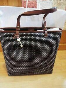 @BNWT Fossil Rachel Black Tote Bag Handbag with key design ZB315080 RRP £129