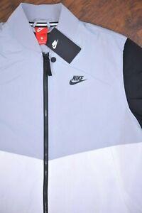 NWT Nike Sportswear Franchise Varsity Jacket Gray Black White Men's Large L