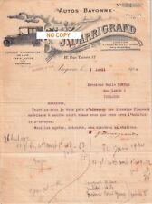 Beau Document du 05/04/1924 DARRIGRAND Autos Bayonne 64