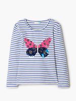 Ex John Lewis Girls' Reversible Sequin Butterfly Stripe Top, Multi        (BU28)