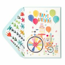 PAPYRUS Greeting Card Bicycle With Kitten Birthday Card -retail $7.95